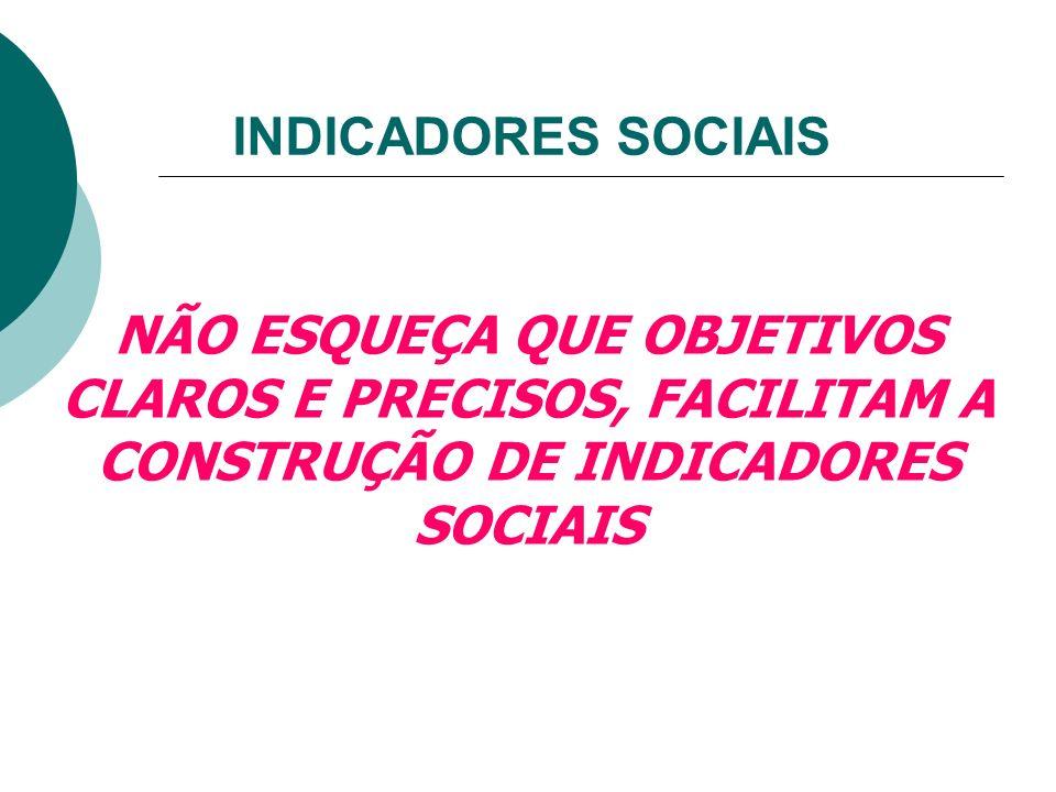 INDICADORES SOCIAIS NÃO ESQUEÇA QUE OBJETIVOS CLAROS E PRECISOS, FACILITAM A CONSTRUÇÃO DE INDICADORES SOCIAIS.