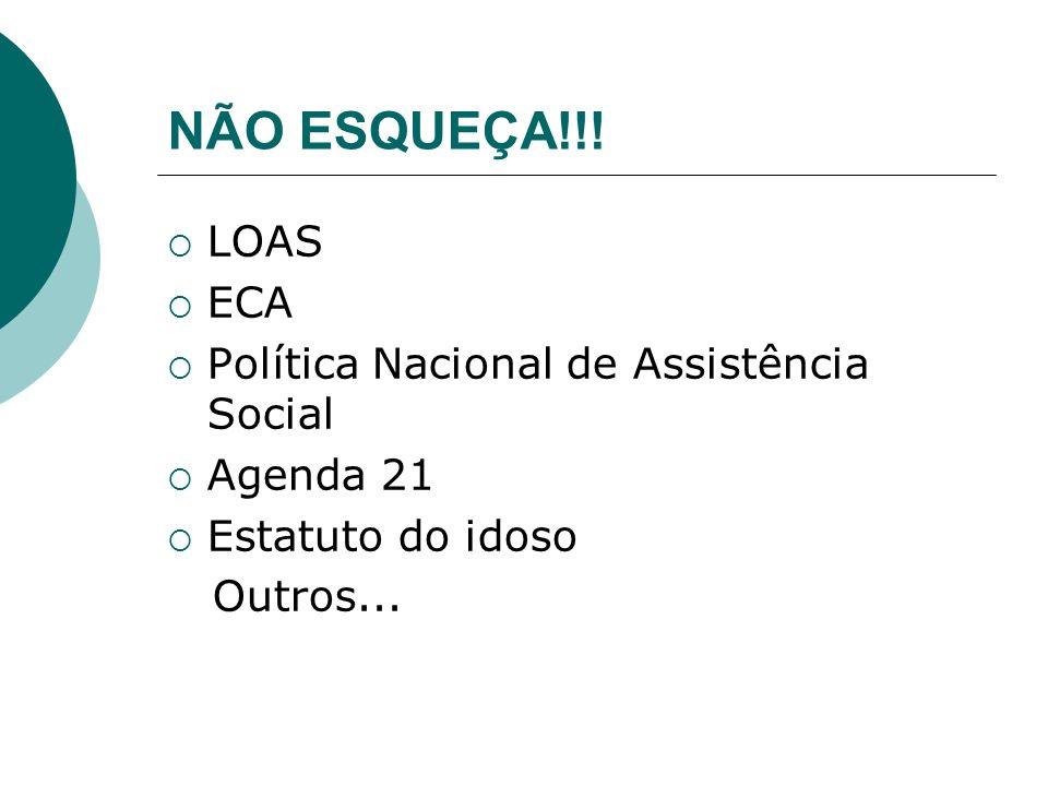 NÃO ESQUEÇA!!! LOAS ECA Política Nacional de Assistência Social