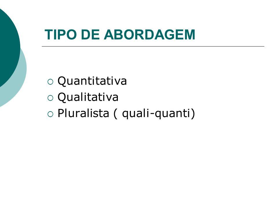 TIPO DE ABORDAGEM Quantitativa Qualitativa Pluralista ( quali-quanti)