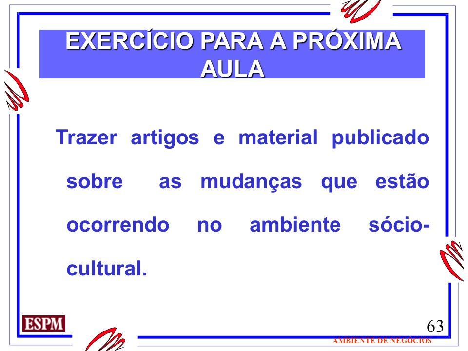 EXERCÍCIO PARA A PRÓXIMA AULA