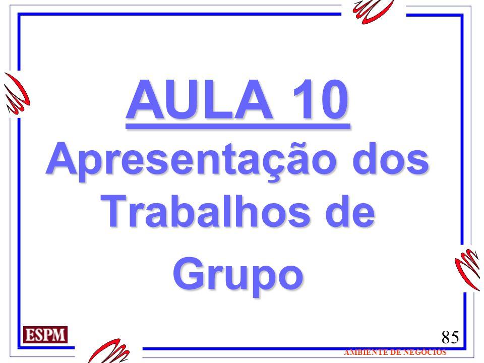 AULA 10 Apresentação dos Trabalhos de Grupo