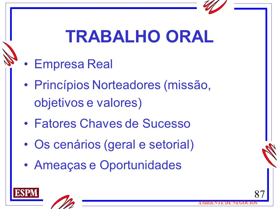 TRABALHO ORAL Empresa Real