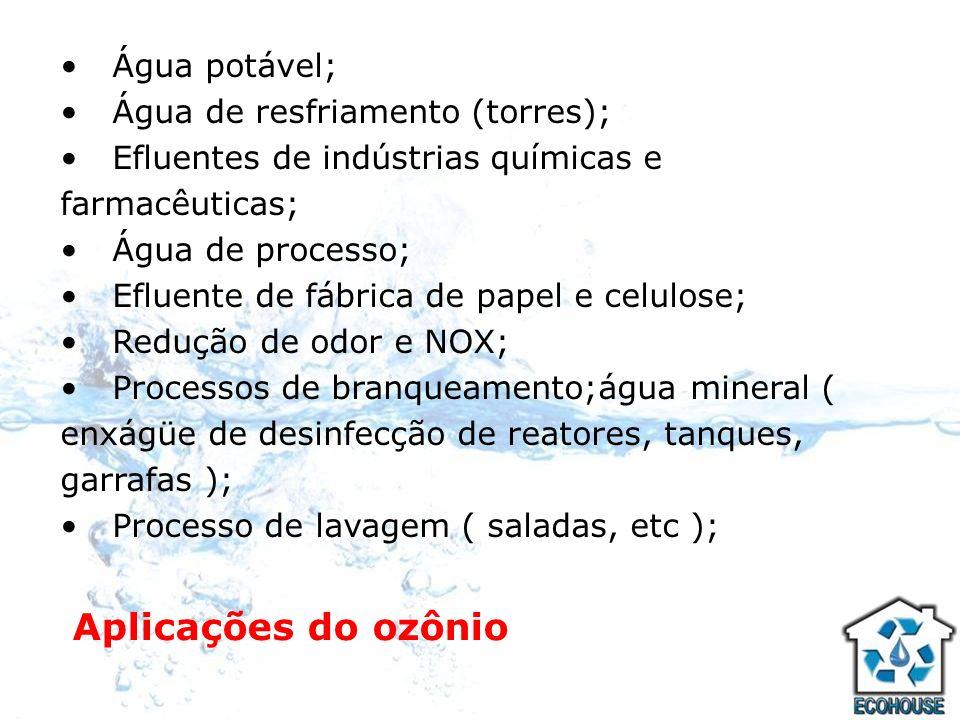 Aplicações do ozônio Água potável; Água de resfriamento (torres);