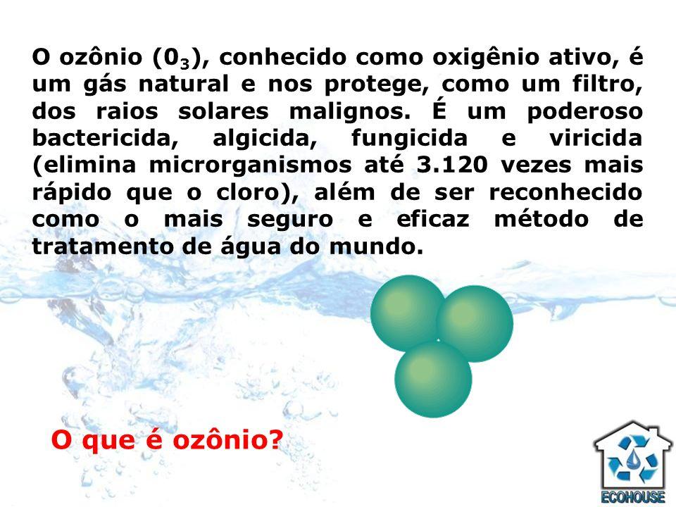 O ozônio (03), conhecido como oxigênio ativo, é um gás natural e nos protege, como um filtro, dos raios solares malignos. É um poderoso bactericida, algicida, fungicida e viricida (elimina microrganismos até 3.120 vezes mais rápido que o cloro), além de ser reconhecido como o mais seguro e eficaz método de tratamento de água do mundo.