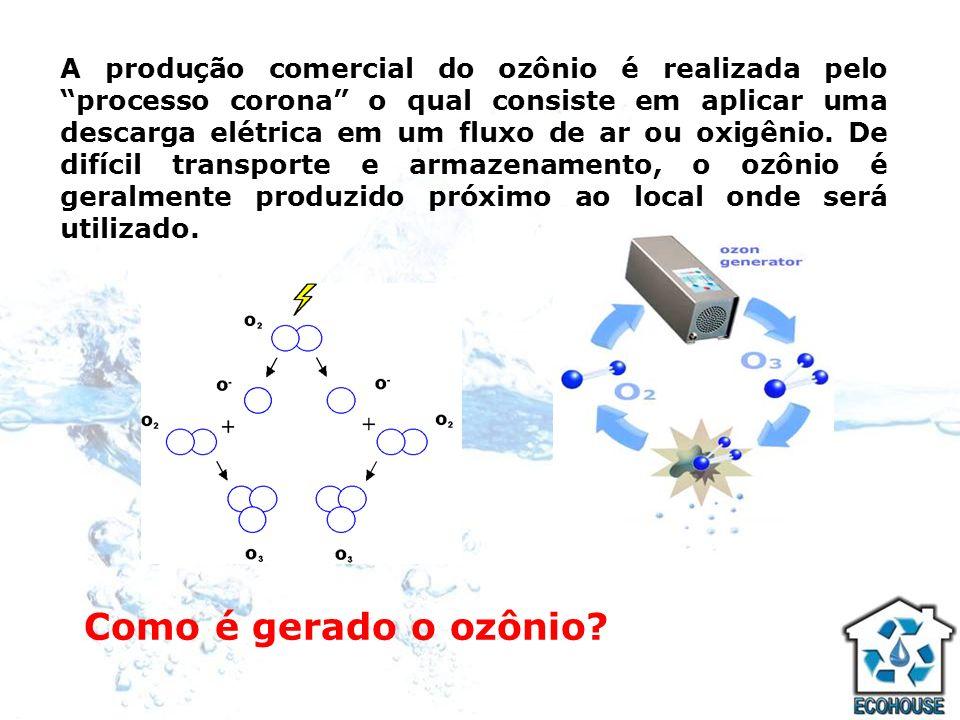 A produção comercial do ozônio é realizada pelo processo corona o qual consiste em aplicar uma descarga elétrica em um fluxo de ar ou oxigênio. De difícil transporte e armazenamento, o ozônio é geralmente produzido próximo ao local onde será utilizado.