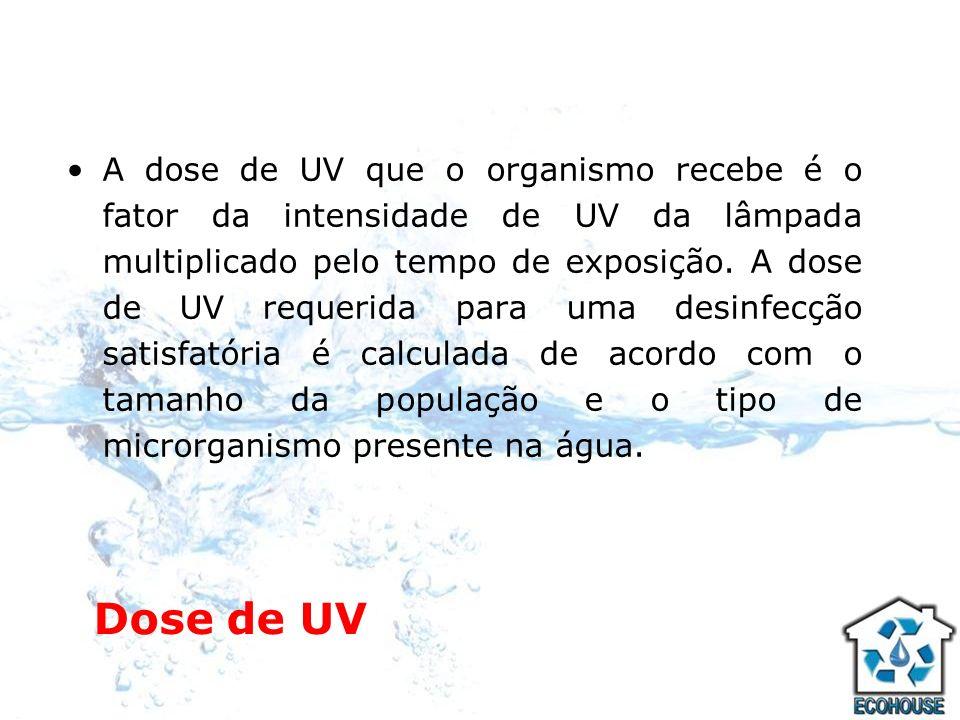 A dose de UV que o organismo recebe é o fator da intensidade de UV da lâmpada multiplicado pelo tempo de exposição. A dose de UV requerida para uma desinfecção satisfatória é calculada de acordo com o tamanho da população e o tipo de microrganismo presente na água.