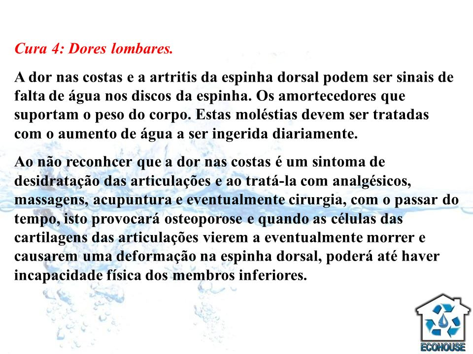 Cura 4: Dores lombares.