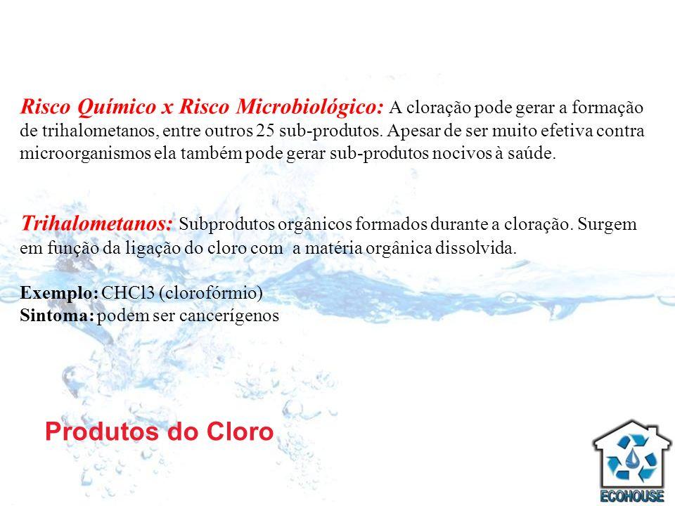 Risco Químico x Risco Microbiológico: A cloração pode gerar a formação de trihalometanos, entre outros 25 sub-produtos. Apesar de ser muito efetiva contra microorganismos ela também pode gerar sub-produtos nocivos à saúde.