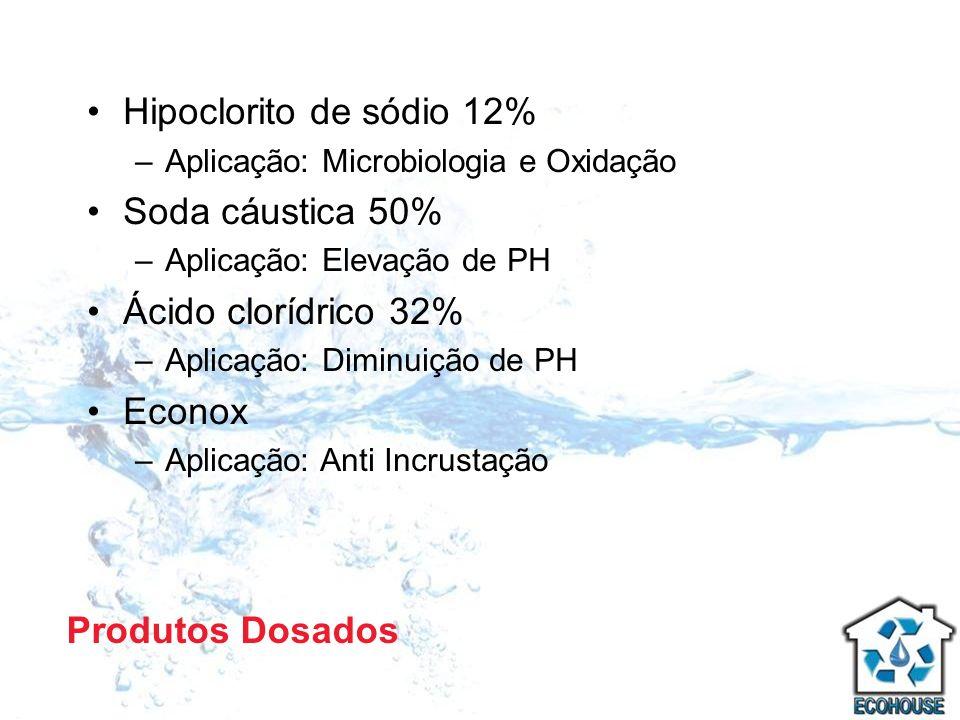 Hipoclorito de sódio 12% Soda cáustica 50% Ácido clorídrico 32% Econox