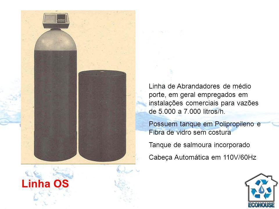 Linha de Abrandadores de médio porte, em geral empregados em instalações comerciais para vazões de 5.000 a 7.000 litros/h.