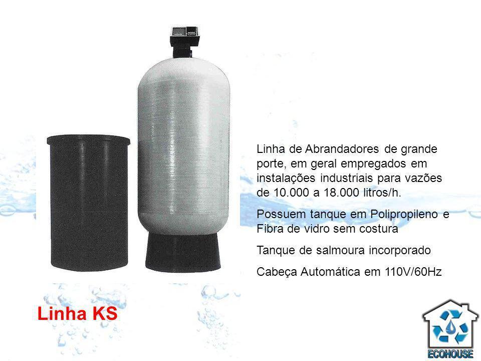 Linha de Abrandadores de grande porte, em geral empregados em instalações industriais para vazões de 10.000 a 18.000 litros/h.