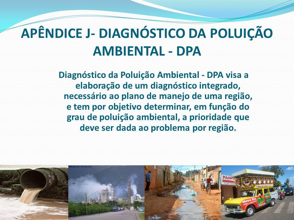 APÊNDICE J- DIAGNÓSTICO DA POLUIÇÃO AMBIENTAL - DPA