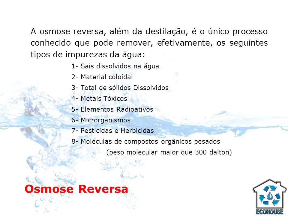 A osmose reversa, além da destilação, é o único processo conhecido que pode remover, efetivamente, os seguintes tipos de impurezas da água: