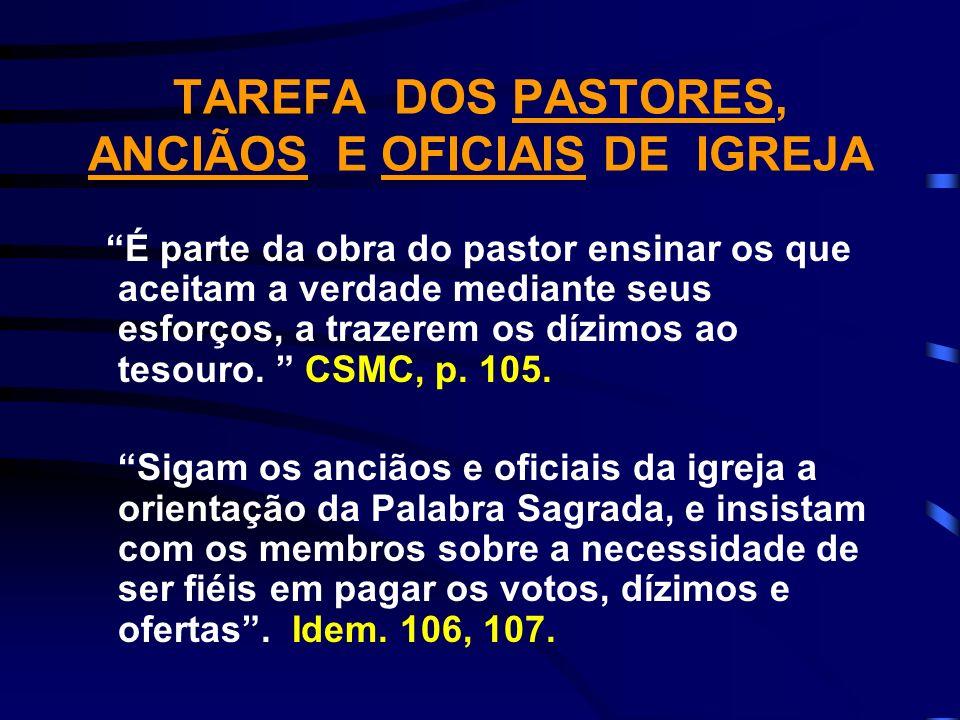 TAREFA DOS PASTORES, ANCIÃOS E OFICIAIS DE IGREJA