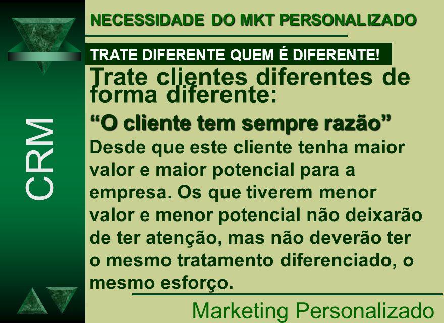 CRM Trate clientes diferentes de forma diferente: