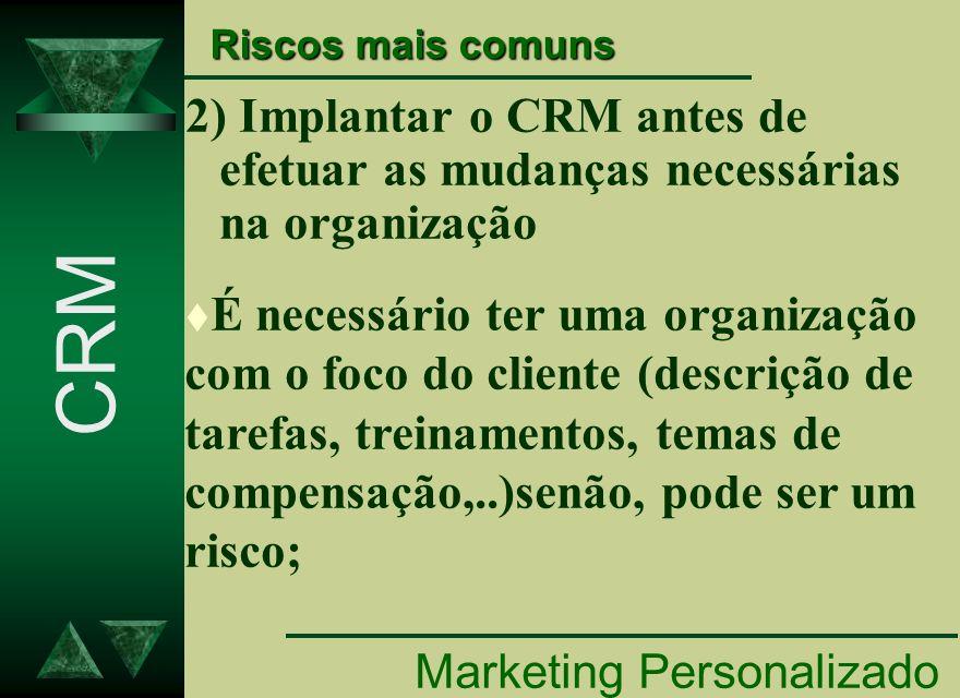 Riscos mais comuns 2) Implantar o CRM antes de efetuar as mudanças necessárias na organização.