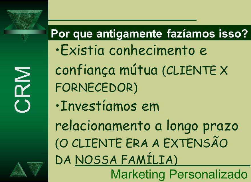 CRM Existia conhecimento e confiança mútua (CLIENTE X FORNECEDOR)