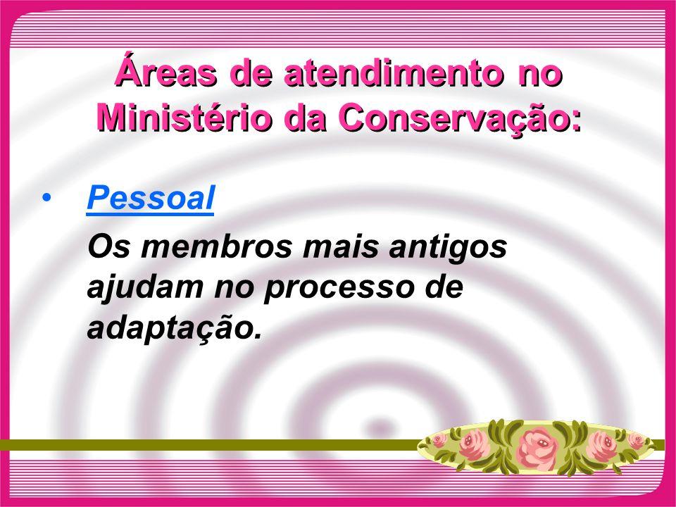 Áreas de atendimento no Ministério da Conservação: