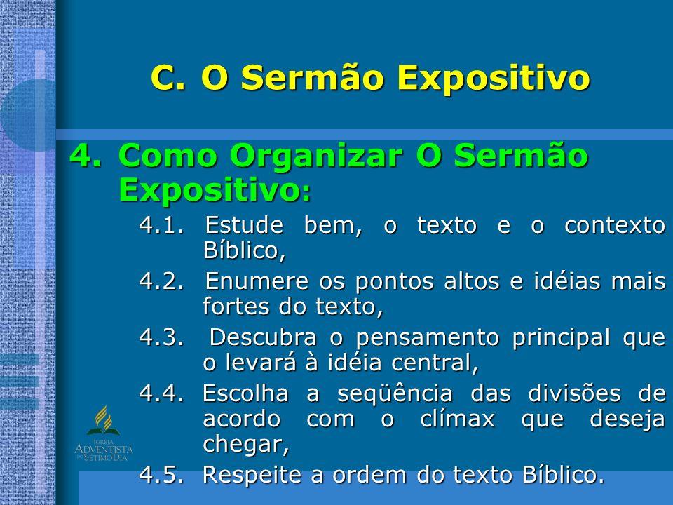 O Sermão Expositivo Como Organizar O Sermão Expositivo: