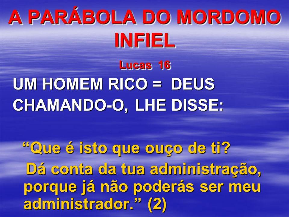 A PARÁBOLA DO MORDOMO INFIEL Lucas 16