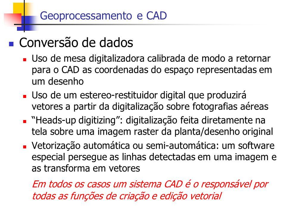 Conversão de dados Geoprocessamento e CAD