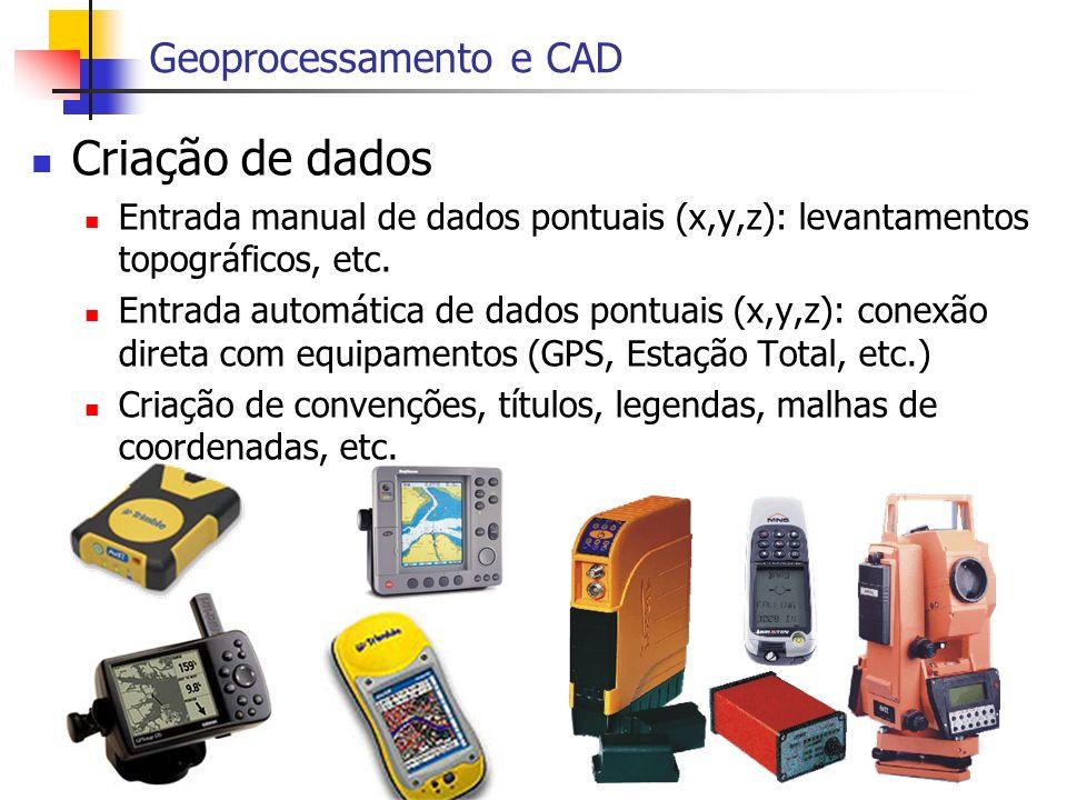 Criação de dados Geoprocessamento e CAD