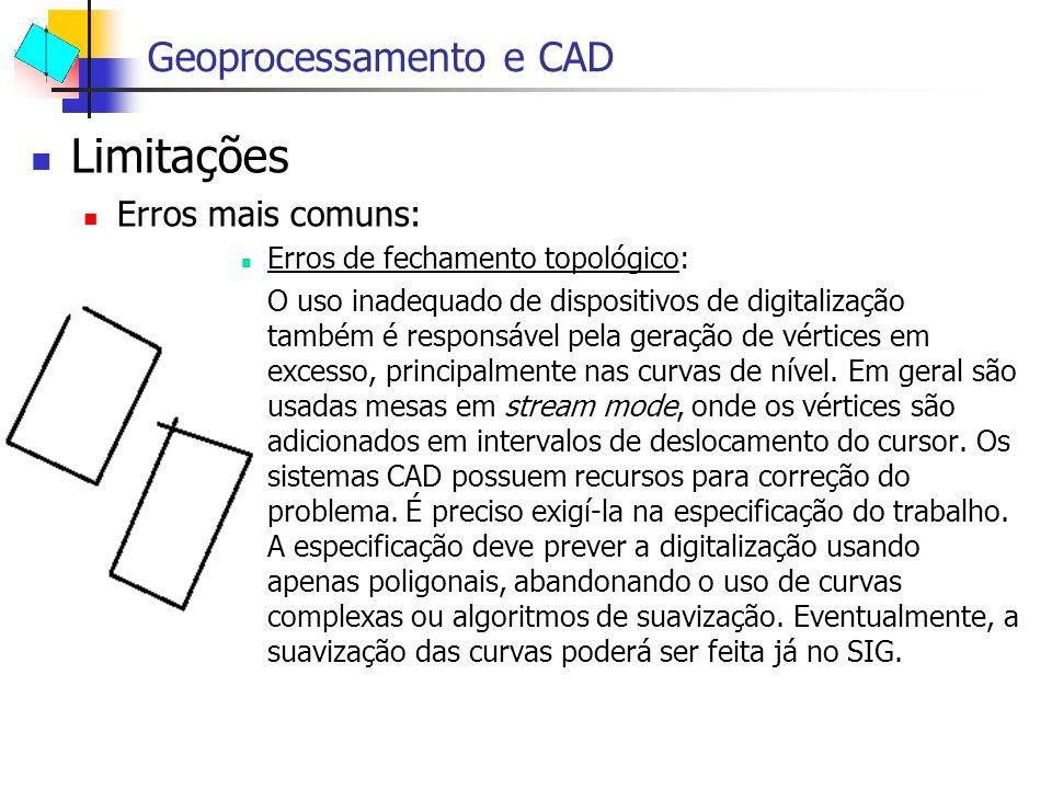 Limitações Geoprocessamento e CAD Erros mais comuns: