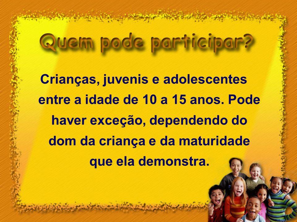 Crianças, juvenis e adolescentes entre a idade de 10 a 15 anos
