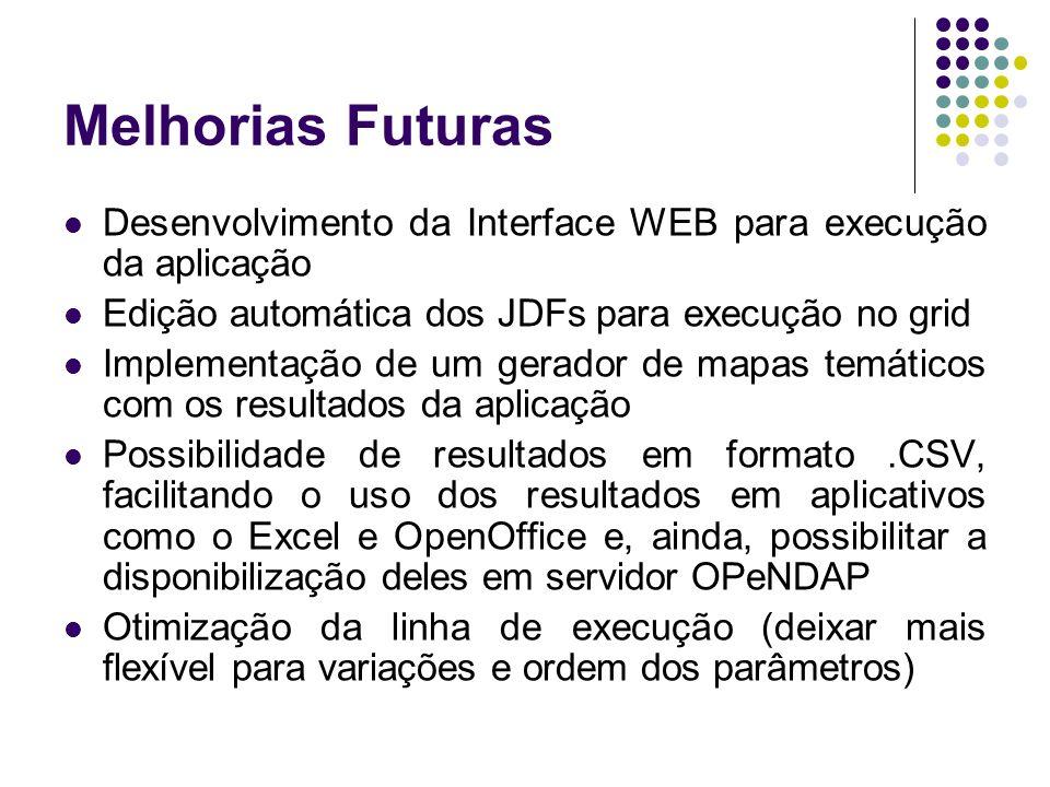 Melhorias FuturasDesenvolvimento da Interface WEB para execução da aplicação. Edição automática dos JDFs para execução no grid.