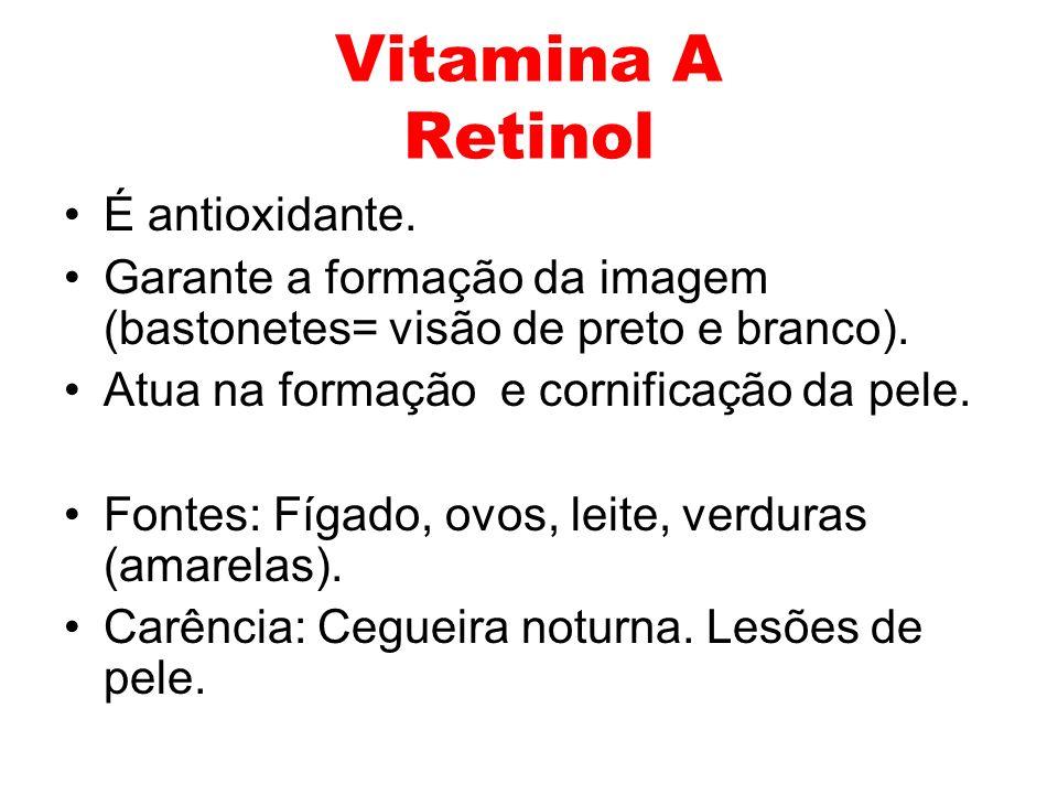 Vitamina A Retinol É antioxidante.