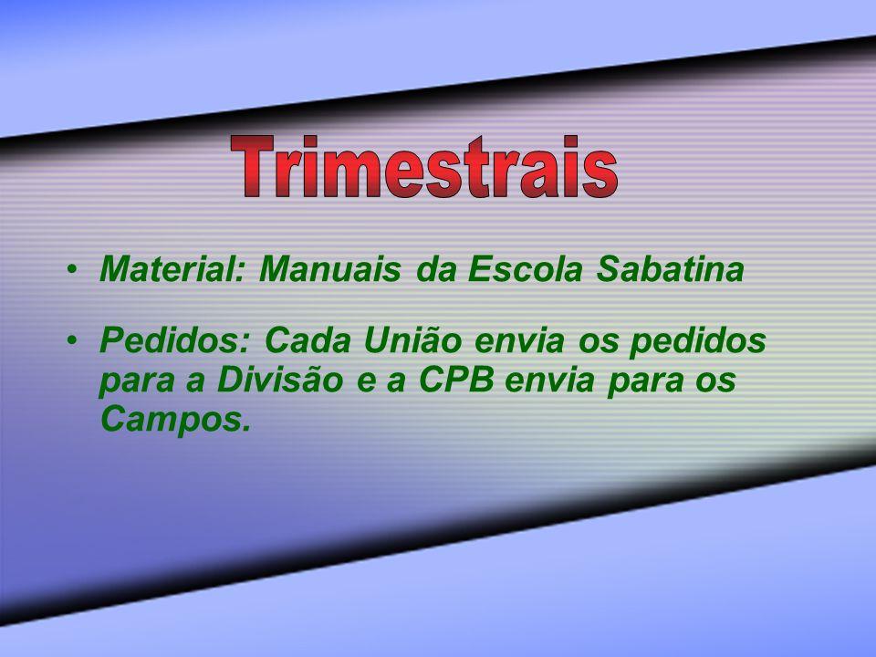 Trimestrais Material: Manuais da Escola Sabatina