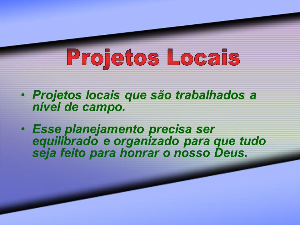 Projetos Locais Projetos locais que são trabalhados a nível de campo.