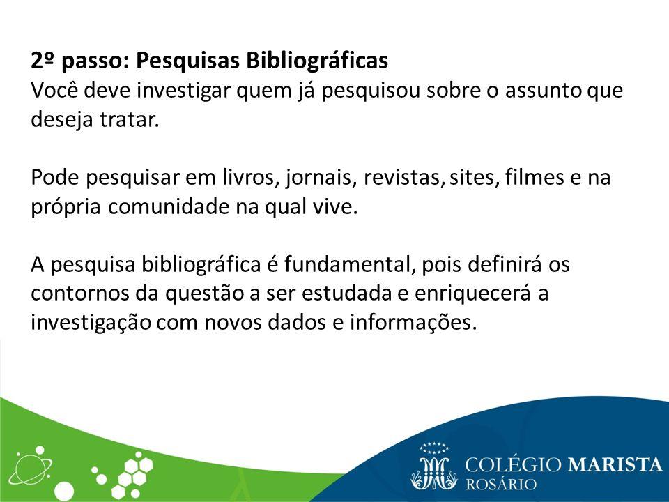 2º passo: Pesquisas Bibliográficas