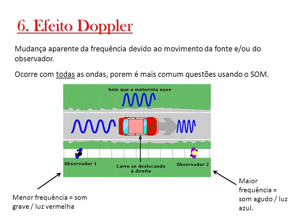 6. Efeito Doppler Mudança aparente da frequência devido ao movimento da fonte e/ou do observador.