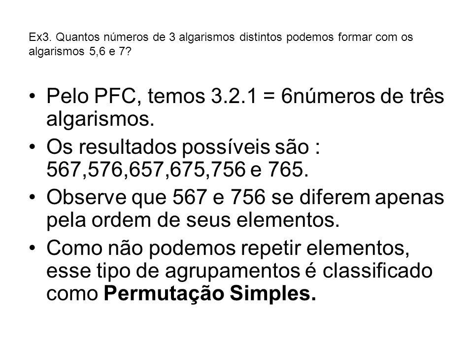 Pelo PFC, temos 3.2.1 = 6números de três algarismos.