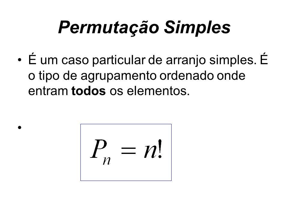 Permutação SimplesÉ um caso particular de arranjo simples.