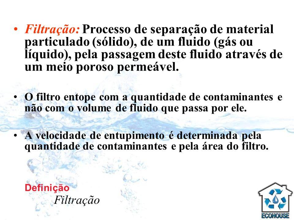 Filtração: Processo de separação de material particulado (sólido), de um fluido (gás ou líquido), pela passagem deste fluido através de um meio poroso permeável.