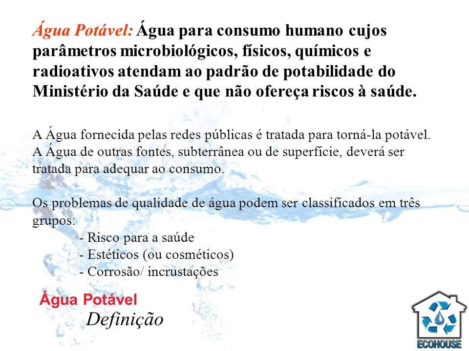 Água Potável: Água para consumo humano cujos parâmetros microbiológicos, físicos, químicos e radioativos atendam ao padrão de potabilidade do Ministério da Saúde e que não ofereça riscos à saúde.