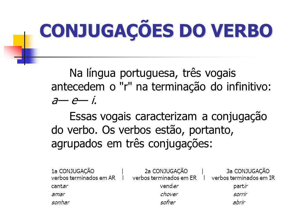 CONJUGAÇÕES DO VERBO Na língua portuguesa, três vogais antecedem o r na terminação do infinitivo: a— e— i.