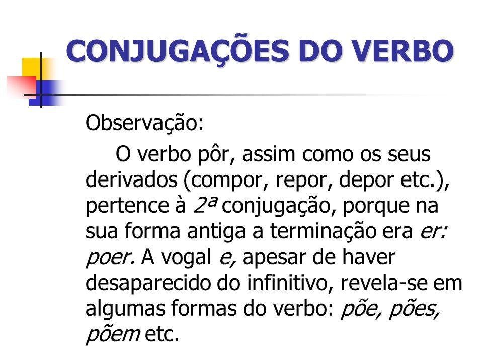 CONJUGAÇÕES DO VERBO