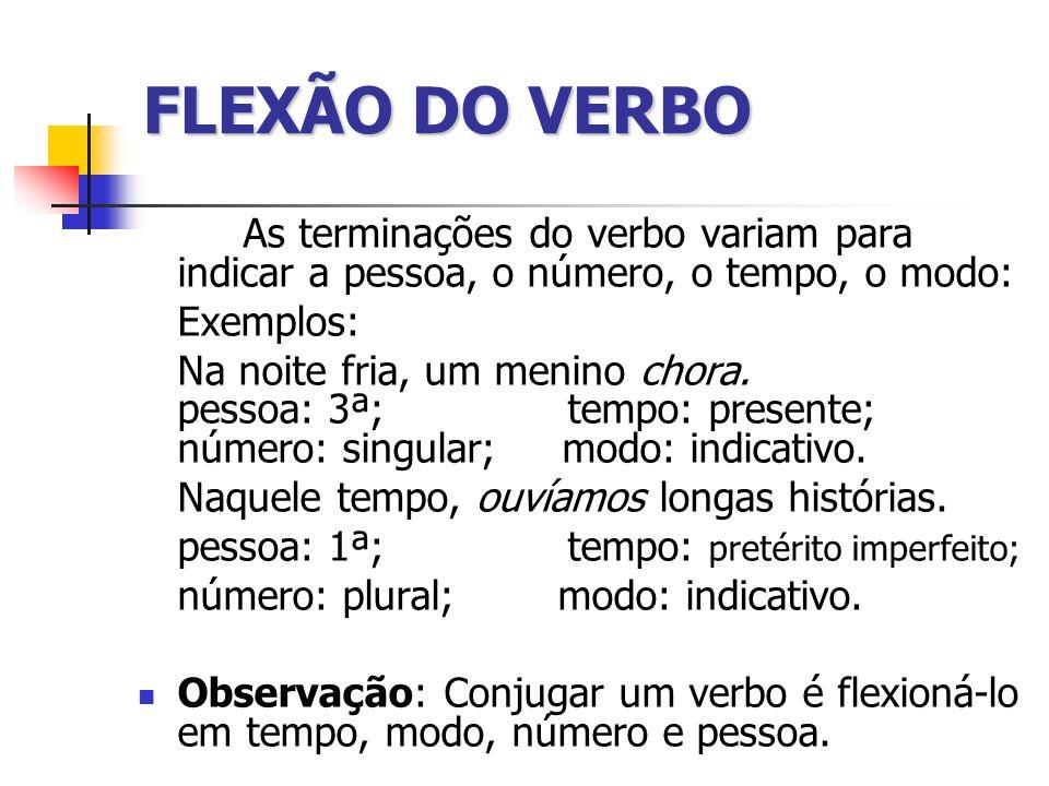 FLEXÃO DO VERBO As terminações do verbo variam para indicar a pessoa, o número, o tempo, o modo: Exemplos: