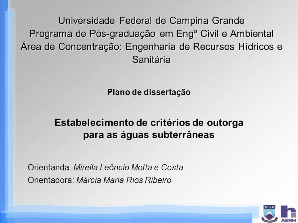 Estabelecimento de critérios de outorga para as águas subterrâneas