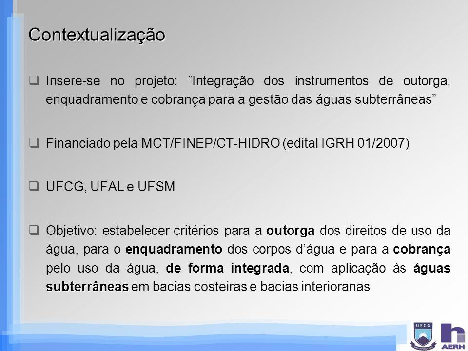 Contextualização Insere-se no projeto: Integração dos instrumentos de outorga, enquadramento e cobrança para a gestão das águas subterrâneas