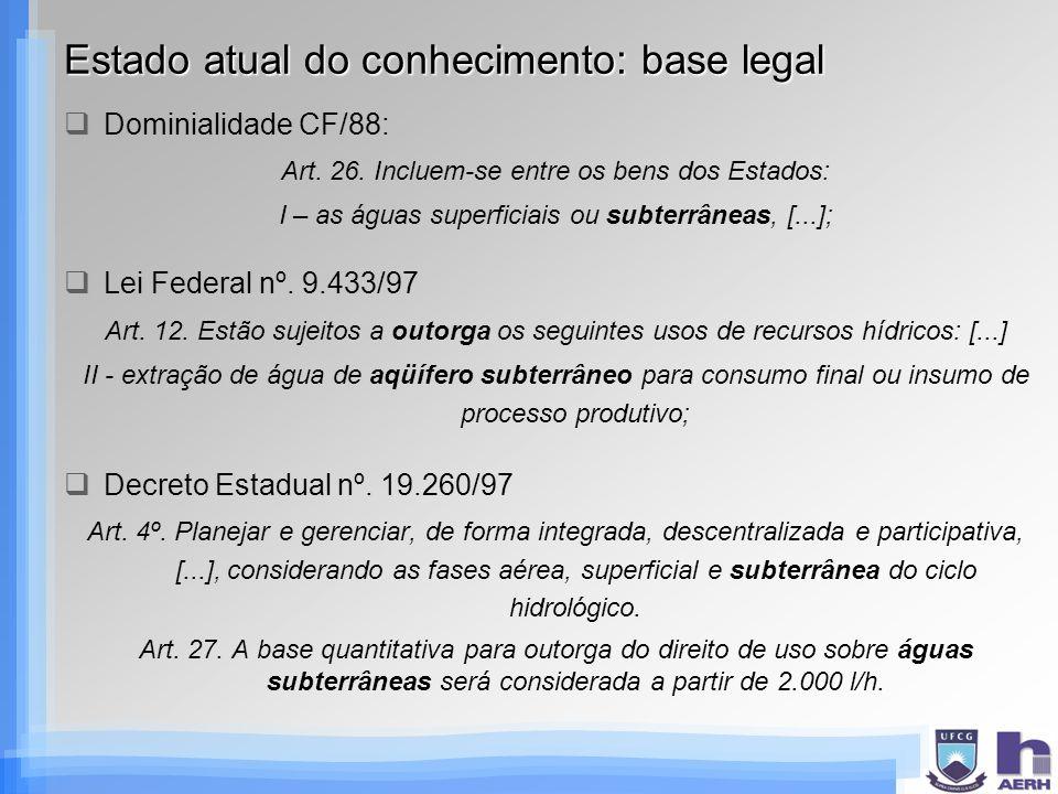 Estado atual do conhecimento: base legal
