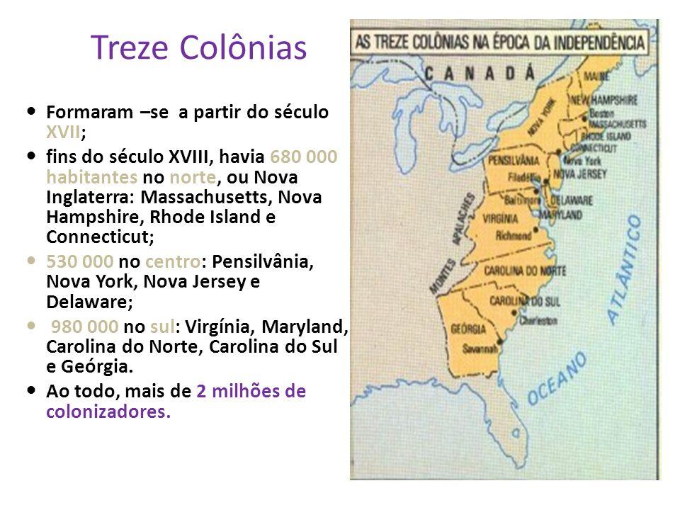 Treze Colônias Formaram –se a partir do século XVII;