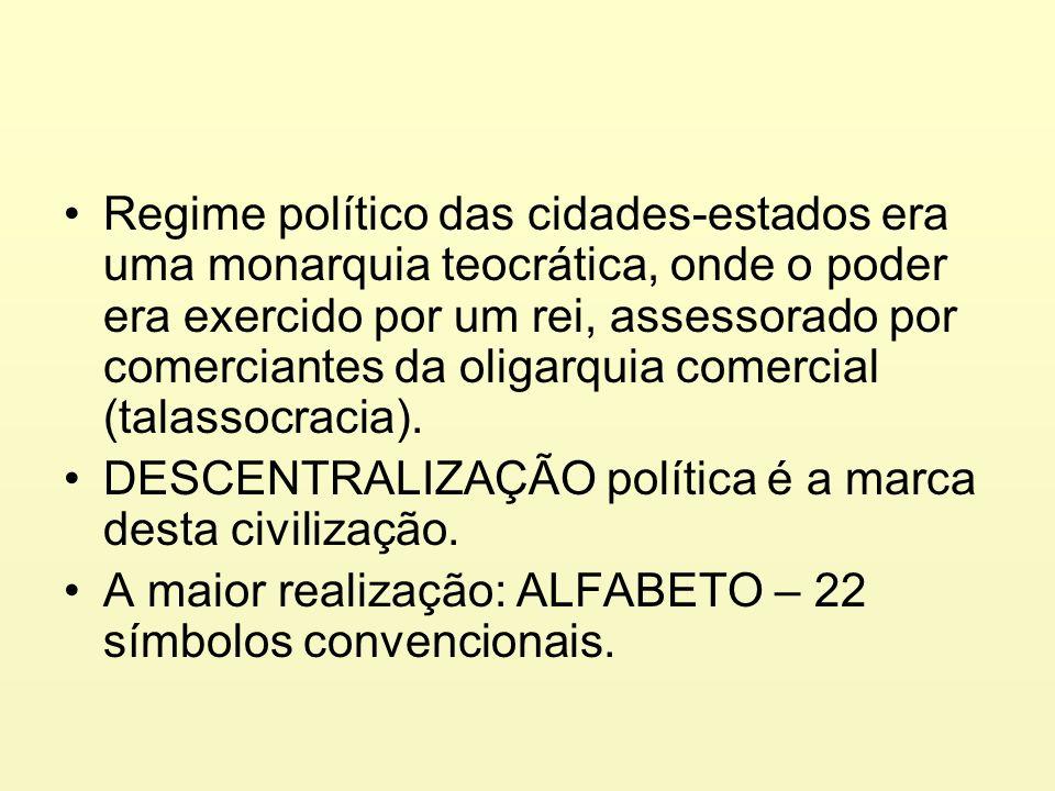 Regime político das cidades-estados era uma monarquia teocrática, onde o poder era exercido por um rei, assessorado por comerciantes da oligarquia comercial (talassocracia).