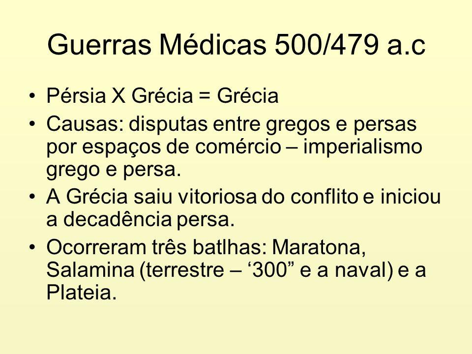 Guerras Médicas 500/479 a.c Pérsia X Grécia = Grécia
