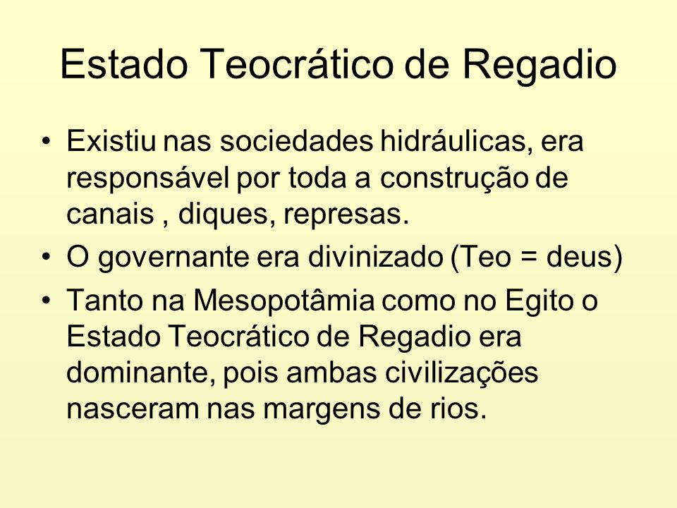 Estado Teocrático de Regadio