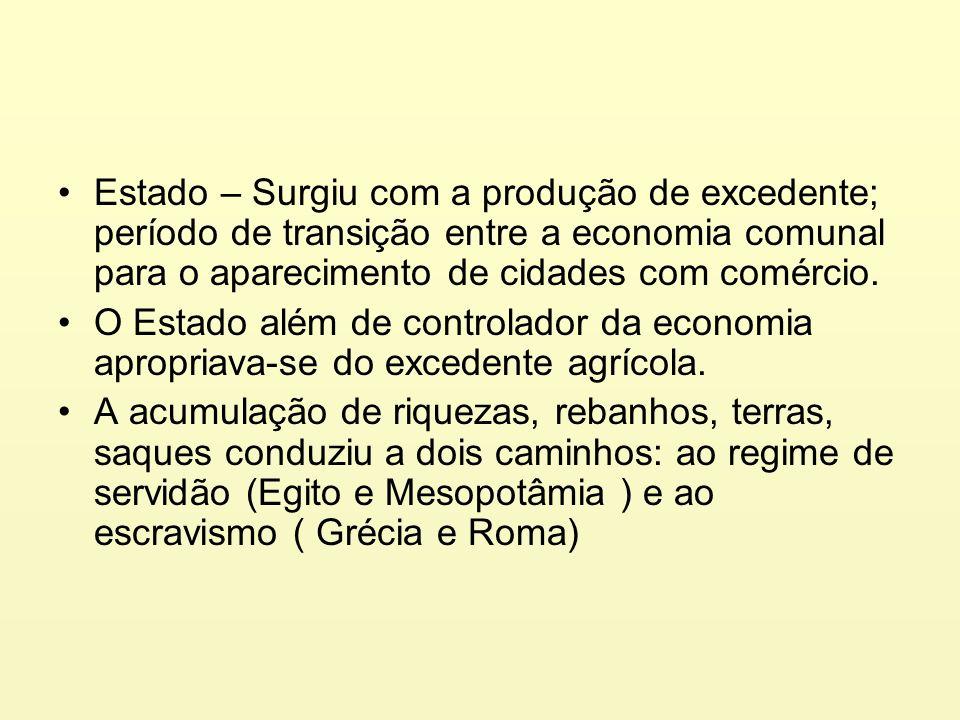 Estado – Surgiu com a produção de excedente; período de transição entre a economia comunal para o aparecimento de cidades com comércio.
