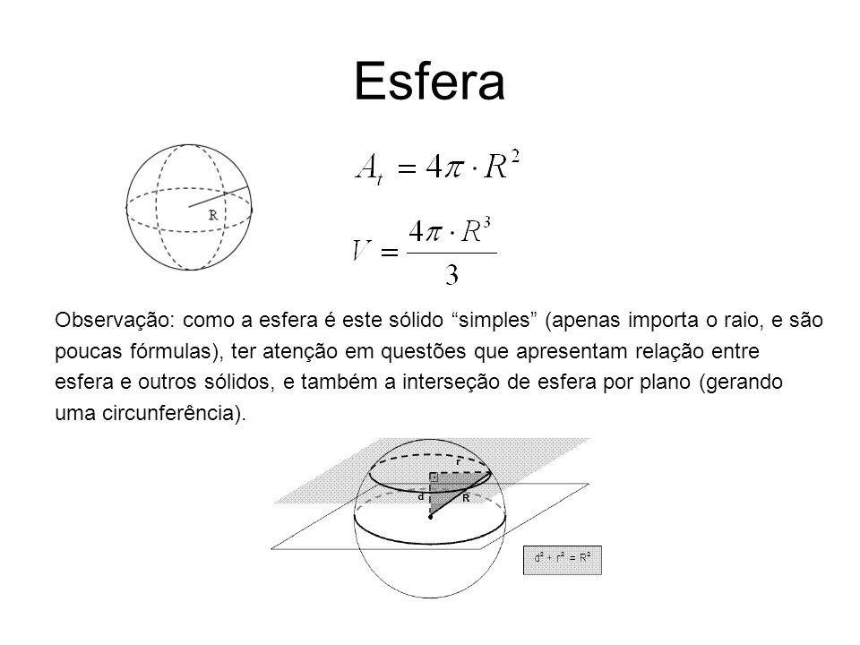 EsferaObservação: como a esfera é este sólido simples (apenas importa o raio, e são.